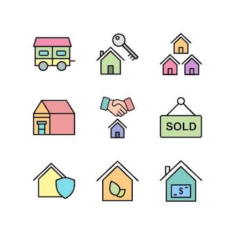 Iconos de bienes raíces para uso personal y comercial