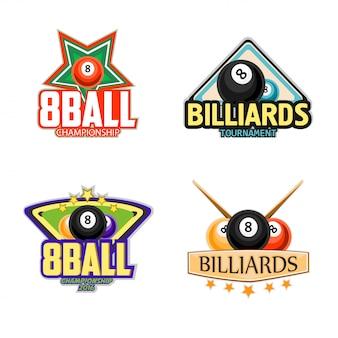 Iconos de billar, billar y snooker.