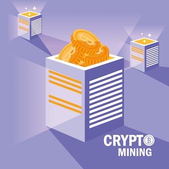 Iconos de bitcoin de cripto minería