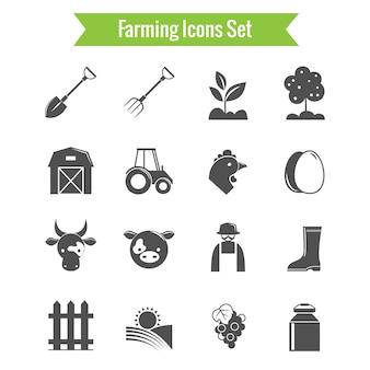 Iconos blanco y negro de granja