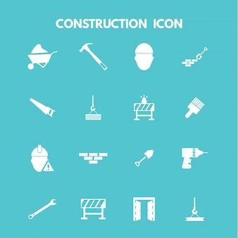 Iconos blancos de construcción