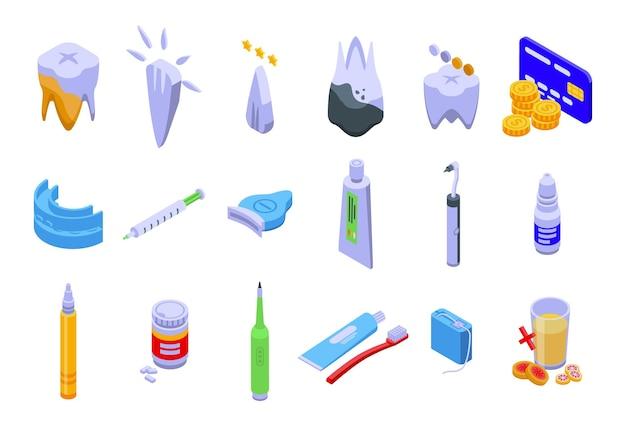 Los iconos de blanqueamiento de dientes establecen vector isométrico. diente brillante