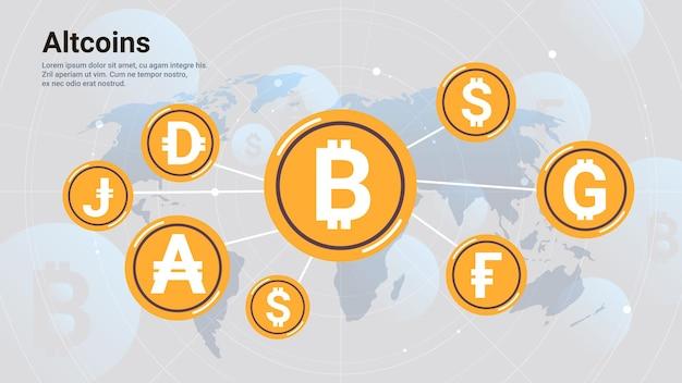 Iconos de blockchain de criptomonedas moneda virtual en el mapa del mundo concepto de altcoins ilustración de vector de espacio de copia horizontal