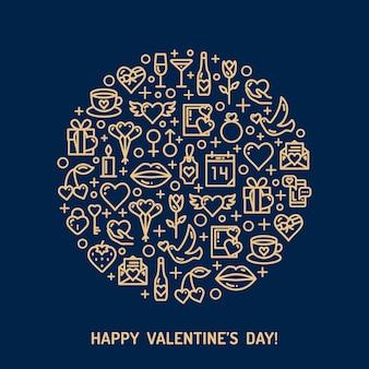 Iconos de boda y día azul de oro. concepto de amor en estilo monoline.