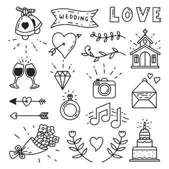 Iconos de boda dibujados a mano