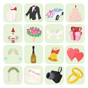 Iconos de boda en estilo de dibujos animados