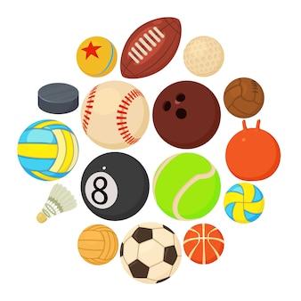 Iconos de bolas de deporte establecen tipos de juego, estilo de dibujos animados