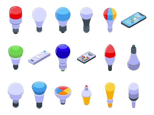 Los iconos de la bombilla inteligente establecen vector isométrico. idea de pensar en el cerebro. conexión de casa inteligente