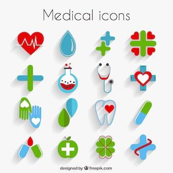 Iconos bonitos médicos en diseño plano