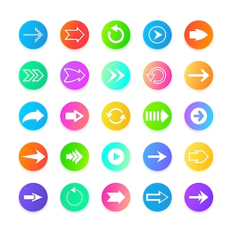 Iconos de botón web de flecha de color
