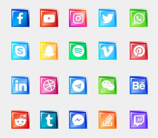 Los iconos de los botones 3d brillantes del logotipo de las redes sociales establecen la colección