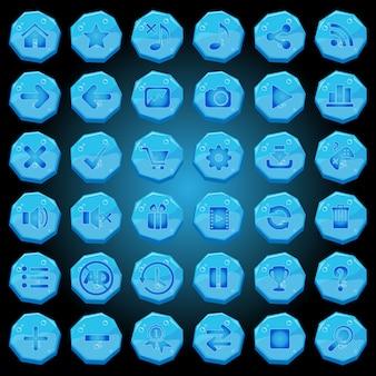 Iconos de botones de piedra establecidos para interfaces de juego de luz azul.