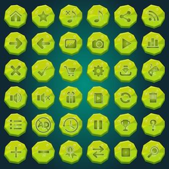 Iconos de botones de piedra establecidos para las interfaces de juego de luz verde.