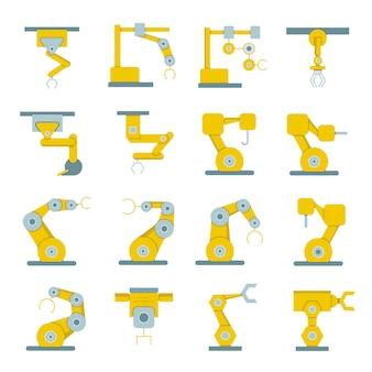 Iconos de brazo robótico para elementos de proceso de fabricación.