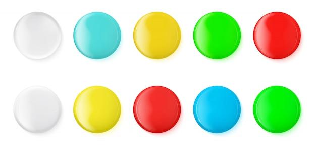 Iconos brillantes realistas, botones, placa, maqueta.