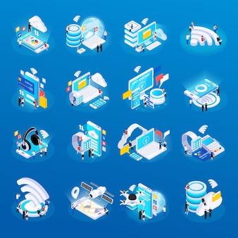 Iconos de brillo isométrico de tecnología inalámbrica establecidos con acceso seguro al almacenamiento de datos en la nube, monitoreo remoto de la salud