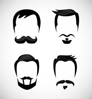 Iconos de caballero con bigotes