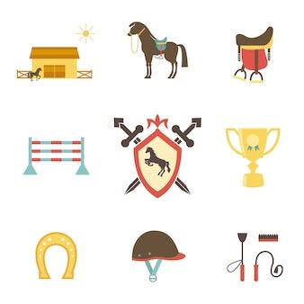 Iconos de caballos y ecuestres en estilo plano