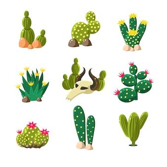 Iconos de cactus y calavera, conjunto de ilustración