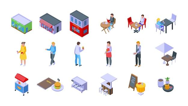 Los iconos del café de la calle establecen vector isométrico. ciudad adulta