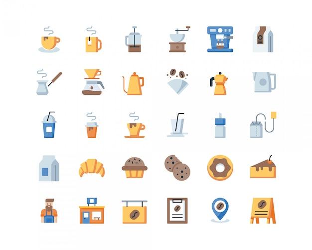 Iconos de café plano.