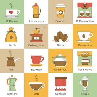 Iconos de café planos