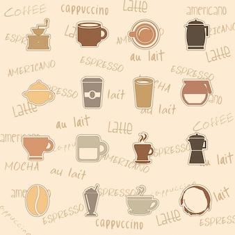 Iconos de café sobre fondo rosa ilustración vectorial