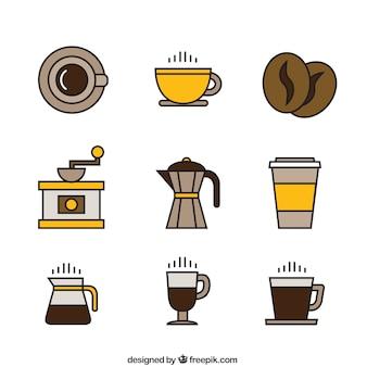Iconos de café en tonos amarillos y marrones