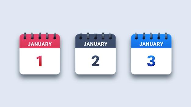 Iconos de calendario de papel