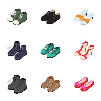 Iconos de calzado de moda, isométrica estilo 3d