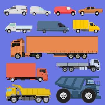 Los iconos de camiones establecen vector envío coches vehículos transporte de carga por carretera. vehículo de reparto de envío de camiones y vagones con carretillas elevadoras. ilustración de tráfico de camiones de remolque de iconos de estilo plano