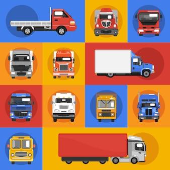 Iconos de camiones planos