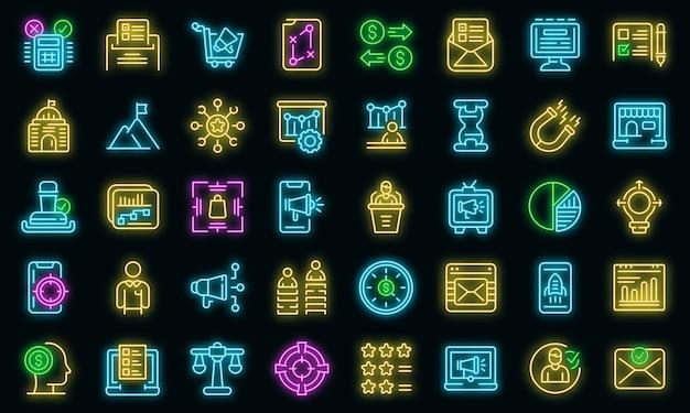 Iconos de campaña exitosa establecer neón vectorial