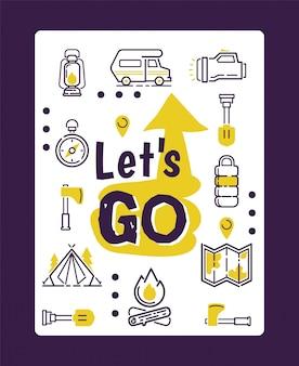 Iconos de camping aislados en cartel tipográfico motivacional