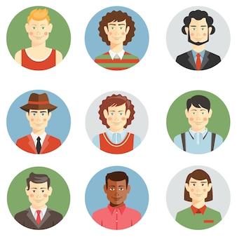 Iconos de caras de niños y hombres en estilo plano que muestran peinados de diferentes edades