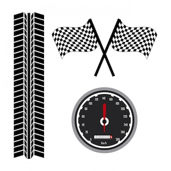 Iconos de carrera sobre fondo blanco ilustración vectorial
