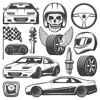 Iconos de carreras de coches antiguos con neumáticos de volante de automóviles velocímetro cráneo casco caja de cambios bandera amortiguador bujía aislada