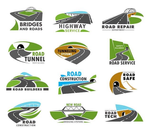 Iconos de carreteras, carreteras y caminos, caminos o vías, calles de tráfico de transporte. servicio de carreteras, reparación y construcción, constructores de puentes y túneles, símbolos de la empresa, viajes seguros y señales de viaje