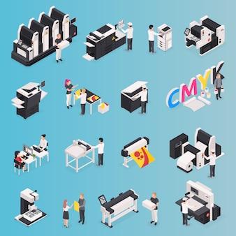 Iconos de la casa de impresión con símbolos de poligrafía isométrica aislado
