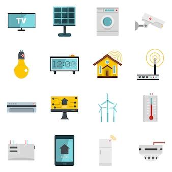 Iconos de casa inteligentes establecidos en estilo plano