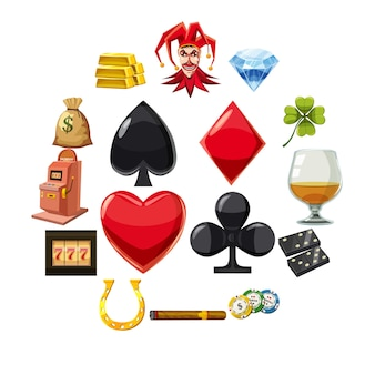 Los iconos de casino establece símbolos, estilo de dibujos animados