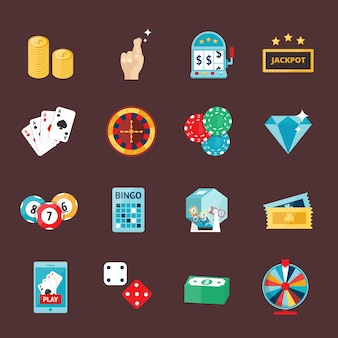 Los iconos del casino fijados con la máquina tragaperras del comodín del jugador de la ruleta aislaron el ejemplo del vector.