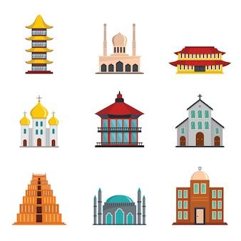 Iconos de castillo de la torre del templo conjunto estilo plano