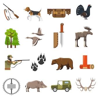 Iconos de caza de color plano