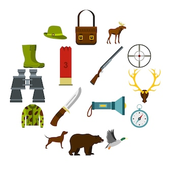Iconos de caza establecidos en estilo plano