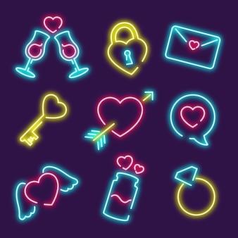 Iconos para la celebración del día de san valentín