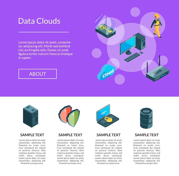 Iconos de centros de datos electrónicos