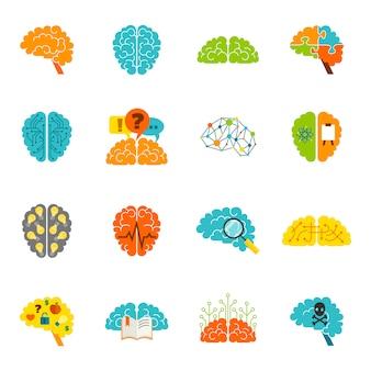 Iconos del cerebro planos