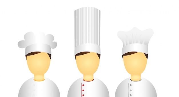 Iconos de chef hombres aislados sobre fondo blanco vector
