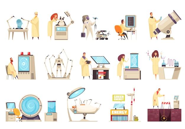 Iconos de ciencia establecidos con equipos modernos y científicos que trabajan en diferentes campos de desarrollo innovador ilustración aislada